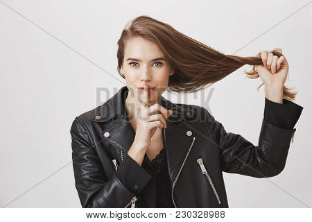 Want To Tell Secret How She Keeps Her Hair Beautiful And Strong. Portrait Of Charming Young Woman, P