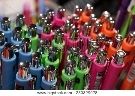 Pens Of Different Colors Neatly Sorted - Close-up Scribe