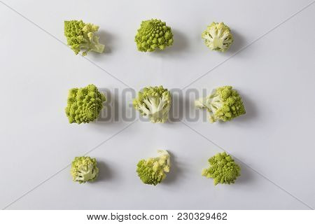 Top View Of A Fresh Organic Romanesco Cauliflower Florets