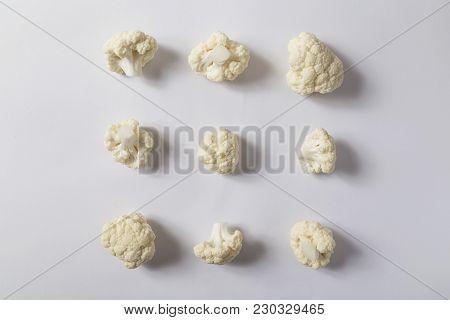 Top View Of A Fresh Organic Cauliflower Florets