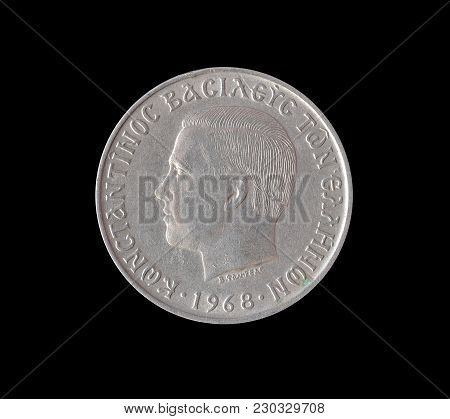 Obverse Of Vintage Ten Drachma Coin Made By Greece 1968
