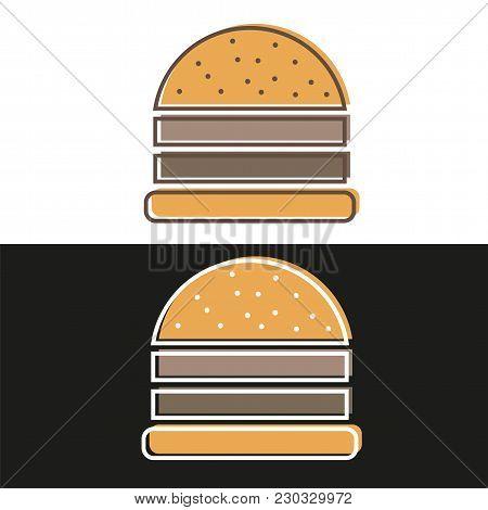 Burger Logo Emblem Colored Shape Line Style - Vector Illustration On Black And White Background