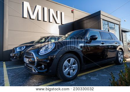 Nuernberg / Germany - March 4, 2018: Mini Logo On A Mini Car At A Car Dealer In Germany.