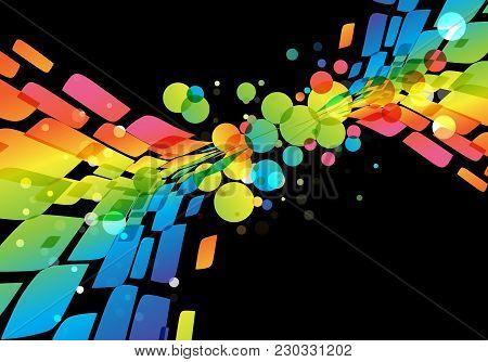 Rainbow Abstract Background, Vivid Splash On Black