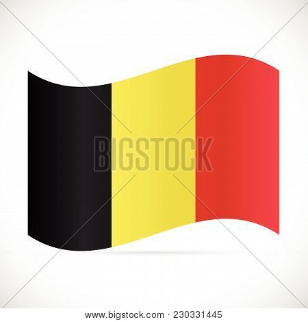 Illustration Of The Flag Of Belgium Isolated On A White Background.
