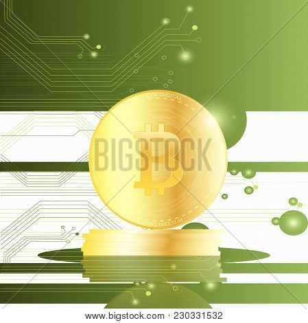 Illustration Of Bitcoins On A Circuit Board Background.