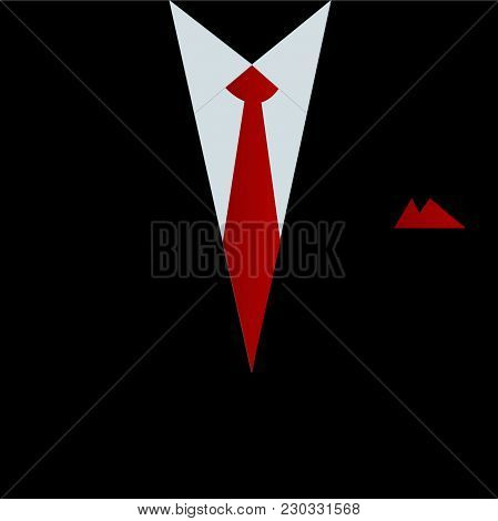 Illustration Of A Black Business Suit And Red Tie.