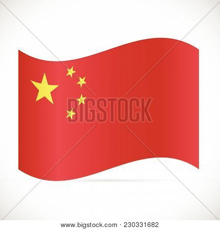 Illustration Of The Flag Of China Isolated On A White Background.