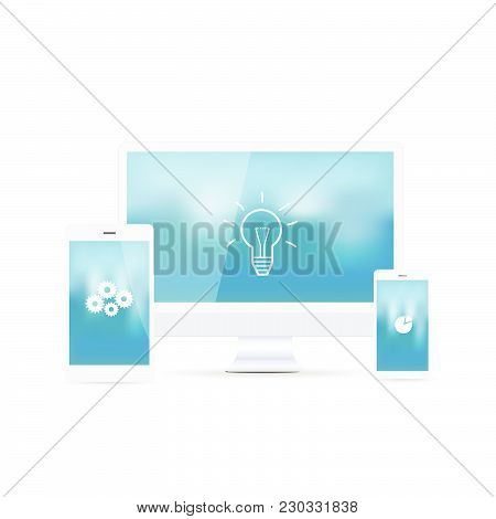 Illustration Of Various Electronic Devices Isolated On A White Background.