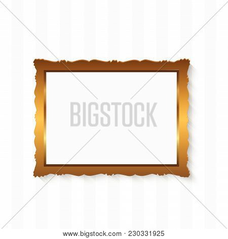 Illustration Of A Picture Frame On A Stripedl Background.