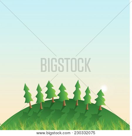 Illustration Of A Hill With Grass, Trees, Sun And Blue Sky.