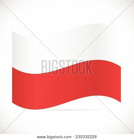 Illustration Of The Flag Of Poland Isolated On A White Background.