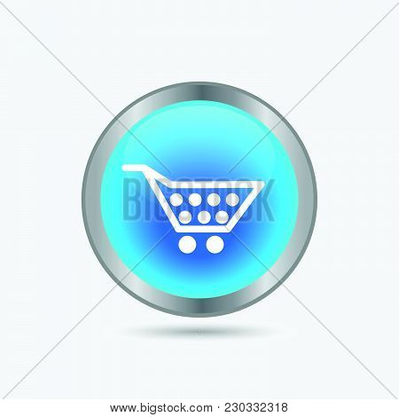 Illustration Of A Blue Shopping Cart Button Isolated On A White Background.