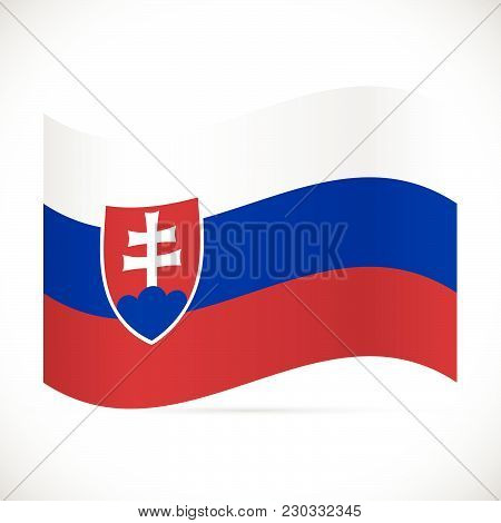 Illustration Of The Flag Of Slovakia Isolated On A White Background.