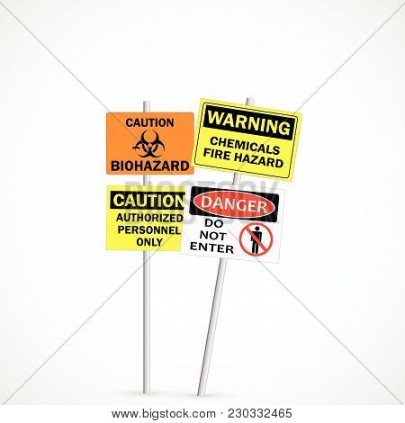 Illustration Of Warning And Caution Signs Isolated On A White Background.