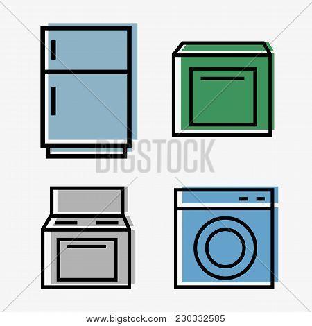 Kitchen Appliances Web - Set Of 4 Icons - Fridge, Plate, Washer, Dishwasher - Line Style