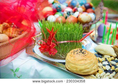 Novruz Tray Plate With Azerbaijan National Pastry Pakhlava And Shekerbura Purple Silk Scarf . Novruz