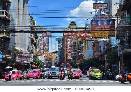 Bangkok - August 23 : Traffic On Yaowarat The Golden Road Of Bangkok On August 23 , 2011 In Bangkok,