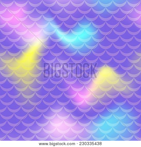 Violet Mermaid Vector Background. Fish Scale Pattern. Mermaid Seamless Pattern Tile. Holographic Gra