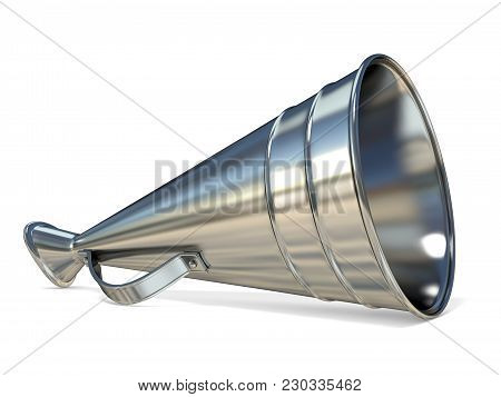 Retro Old Style Megaphone 3d Render Illustration Isolated On White Background