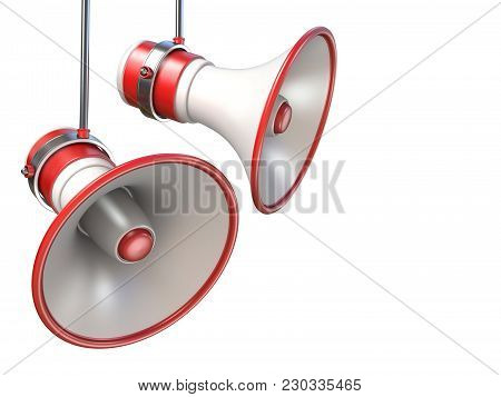 Two Red And White Megaphones 3d Render Illustration Isolated On White Background