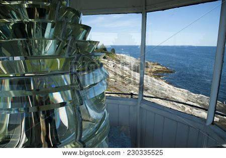 View Of Unique Rock Formations On The Coast From The Top Of Pemequid Point Lighthouse Tower With Aut