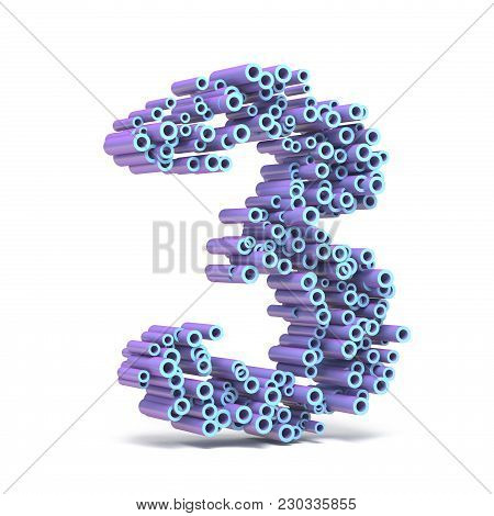 Purple Blue Font Made Of Tubes Number Three 3 3D