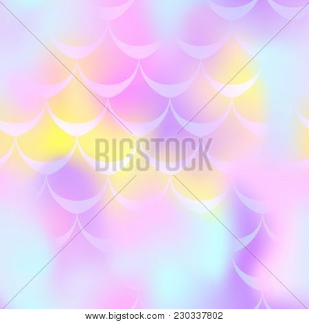 Pink Yellow Mermaid Scale Vector Background. Pastel Iridescent Background. Fish Scale Pattern. Seaml