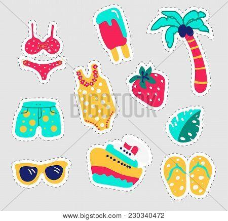 Summer Stickers Set. Fun Stickers Design Vector In Summer Holidays Concept. Summer Labels, Logos, Ha