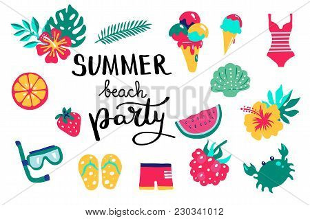 Summer Beach Party Lettering. Set Hand Drawn Icons, Signs And Banners. Bright Summertime Poster. Col
