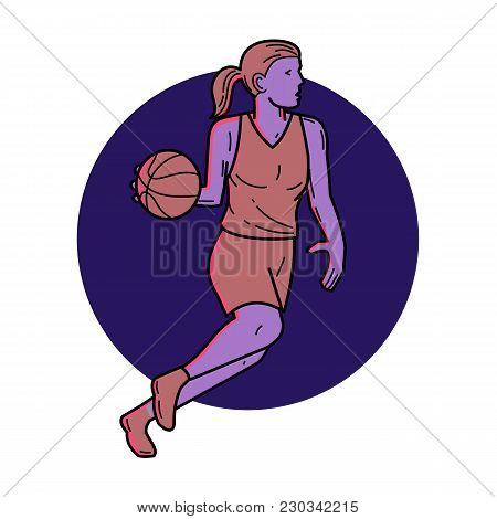 Mono Line Illustration Of Woman Or Female Basketball Player Dribbling Ball Looking To Pass Viewed Fr
