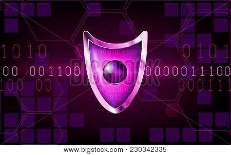 Cyber Security Antivirus Concept With  Purple Shield, Futuristic Lines, Cubes And Numbers. Protected