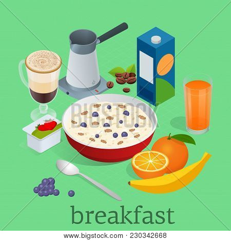 Isometric Breakfast And Kitchen Equipment Icons Set. Breakfast Served With Coffee, Orange Juice, Oat
