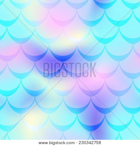 Turquoise Pink Mermaid Skin Vector Background. Cold Gamma Iridescent Background. Fish Scale Pattern.