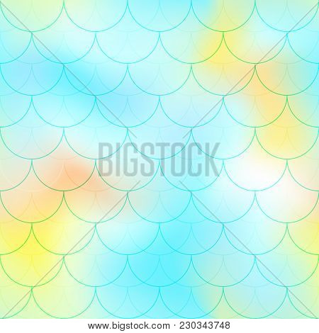 Mint Yellow Mermaid Scale Vector Background. Candy Color Iridescent Background. Fish Scale Pattern.