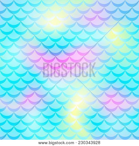 Blue Pink Yellow Mermaid Skin Vector Background. Winter Iridescent Background. Fish Scale Pattern. S