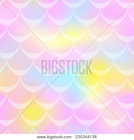 Pink Yellow Mermaid Vector Background. Multicolored Iridescent Background. Fish Scale Pattern. Seaml