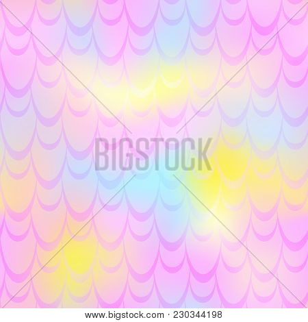 Pink Yellow Mermaid Vector Background. Fish Scale Pattern. Mermaid Seamless Pattern Tile. Holographi