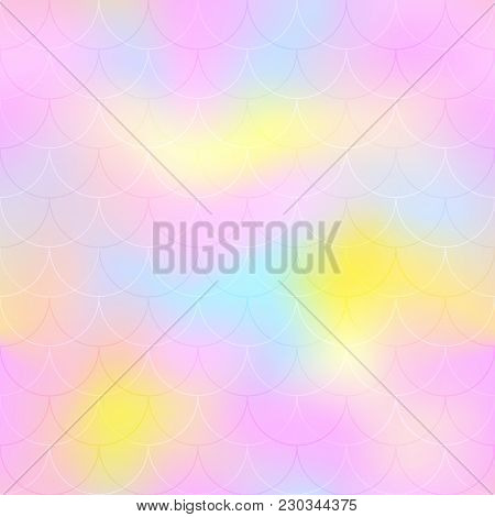 Pink Mint Yellow Mermaid Scale Vector Background. Candy Color Iridescent Background. Fish Scale Patt