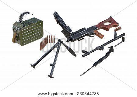 Gun Machine Army Disassembled View. 3d Rendering