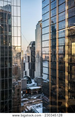 New York-march 8: A Scenic View Of Modern Skyscrapers With Steel And Glass Reflecting The Morning Li