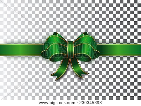 Green Ribbon With A Bow On A Transparent Background. Green Festive Ribbon With Gold Edging. Realisti