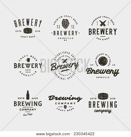 Set Of Vintage Brewery Logos. Retro Styled Brewing Company Emblems, Badges, Design Elements, Logotyp