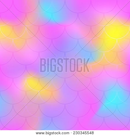 Hot Pink Mermaid Scale Vector Background. Candy Color Iridescent Background. Fish Scale Pattern. Sea
