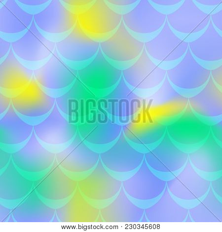 Blue Green Yellow Mermaid Skin Vector Background. Vibrant Iridescent Background. Fish Scale Pattern.