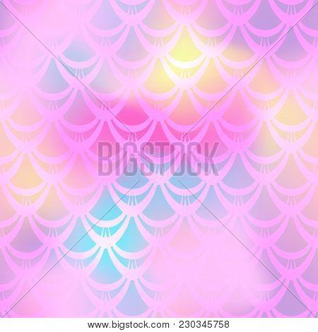 Soft Pink Mermaid Vector Background. Girlish Iridescent Background. Fish Scale Pattern. Mermaid Seam