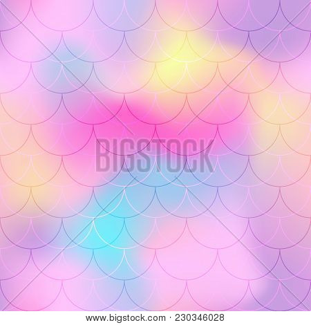 Violet Pink Mermaid Scale Vector Background. Pastel Iridescent Background. Fish Scale Pattern. Seaml