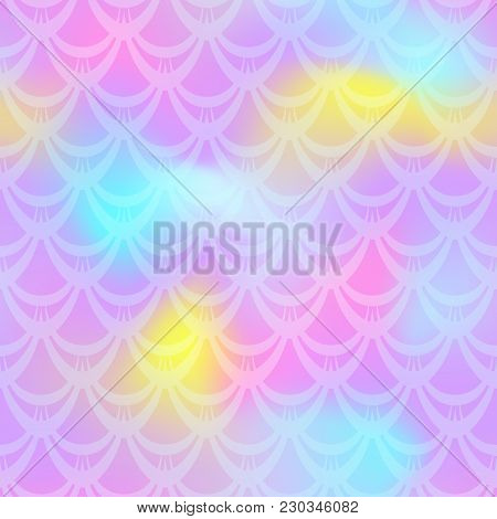 Candy Pink Mermaid Vector Background. Fish Scale Pattern. Mermaid Seamless Pattern Tile. Holographic