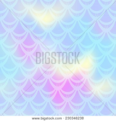 Blue Pink Yellow Mermaid Skin Vector Background. Pastel Iridescent Background. Fish Scale Pattern. S