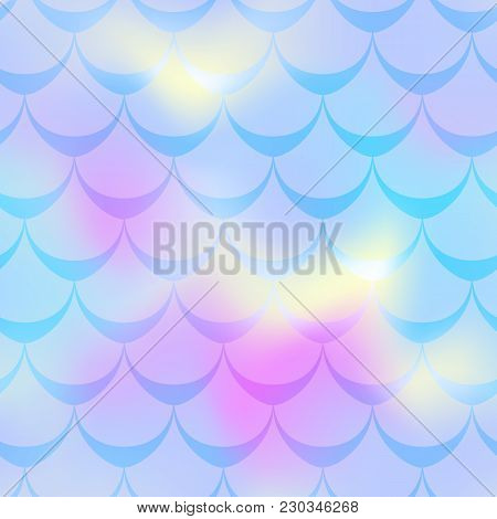 Blue Pink Mermaid Vector Background. Cold Gamma Iridescent Background. Fish Scale Pattern. Mermaid S